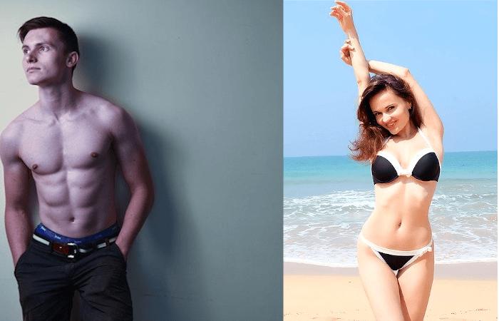 筋肉質の男性と美ボディの水着女性