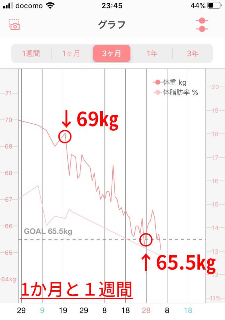 男子大学生のダイエットにおける1か月に体重推移